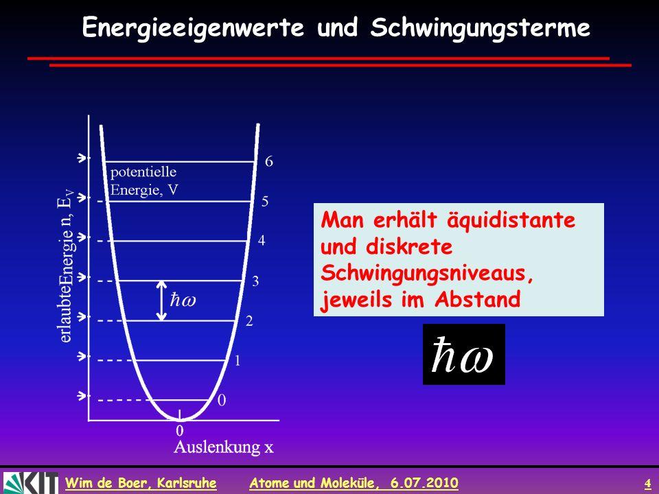 Wim de Boer, Karlsruhe Atome und Moleküle, 6.07.2010 4 Man erhält äquidistante und diskrete Schwingungsniveaus, jeweils im Abstand Energieeigenwerte u