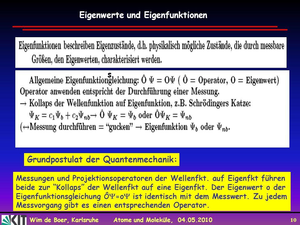 Wim de Boer, Karlsruhe Atome und Moleküle, 04.05.2010 10 Eigenwerte und Eigenfunktionen Grundpostulat der Quantenmechanik: s Messungen und Projektions