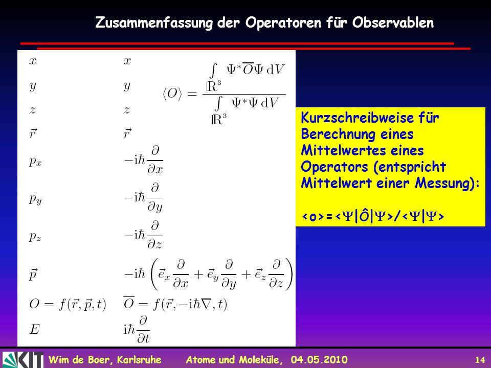 Wim de Boer, Karlsruhe Atome und Moleküle, 04.05.2010 14 Zusammenfassung der Operatoren für Observablen Kurzschreibweise für Berechnung eines Mittelwe