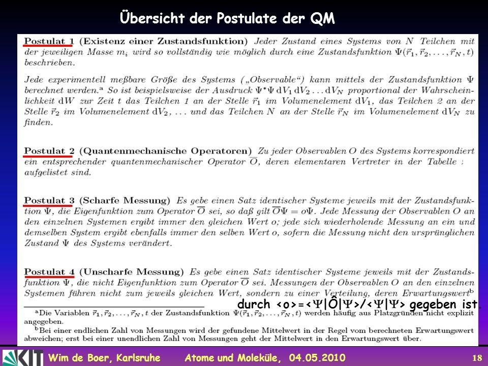 Wim de Boer, Karlsruhe Atome und Moleküle, 04.05.2010 18 Übersicht der Postulate der QM durch = / gegeben ist.