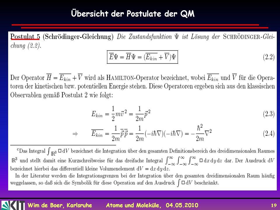 Wim de Boer, Karlsruhe Atome und Moleküle, 04.05.2010 19 Übersicht der Postulate der QM