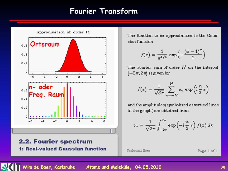 Wim de Boer, Karlsruhe Atome und Moleküle, 04.05.2010 30 Fourier Transform n- oder Freq. Raum Ortsraum