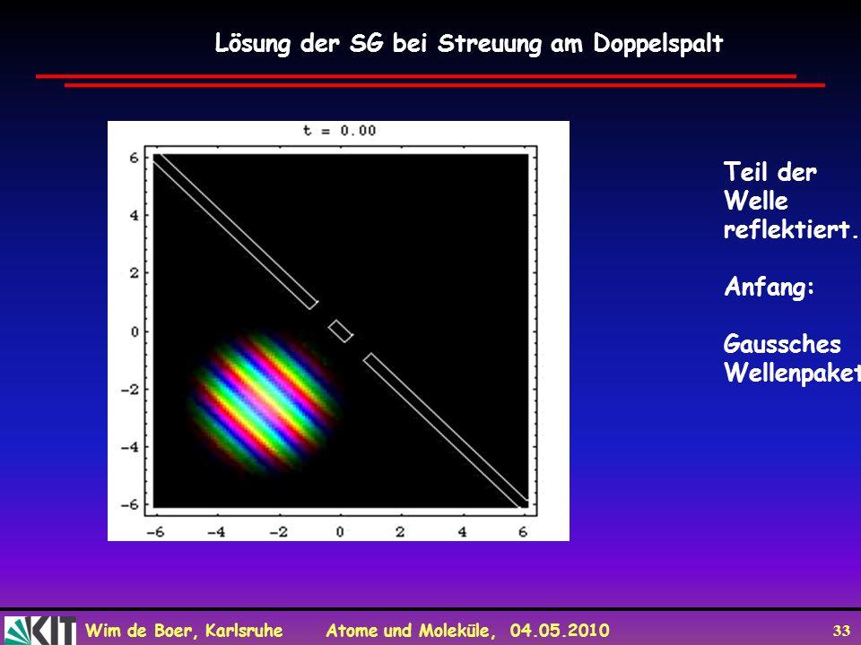 Wim de Boer, Karlsruhe Atome und Moleküle, 04.05.2010 33 Lösung der SG bei Streuung am Doppelspalt Teil der Welle reflektiert. Anfang: Gaussches Welle