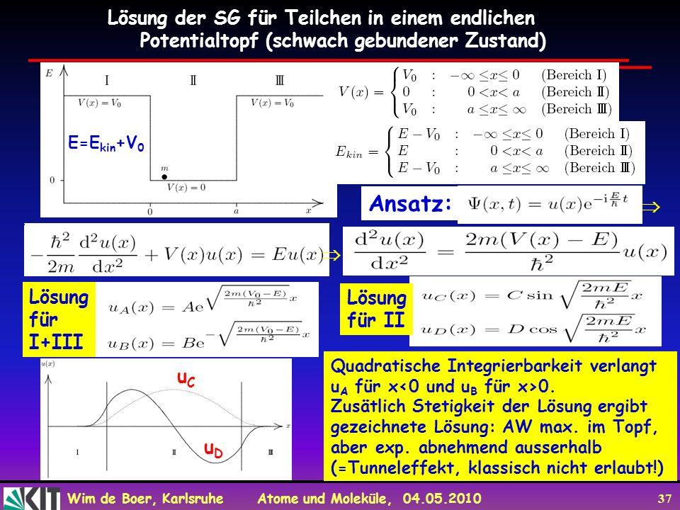 Wim de Boer, Karlsruhe Atome und Moleküle, 04.05.2010 37 Lösung der SG für Teilchen in einem endlichen Potentialtopf (schwach gebundener Zustand) E=E