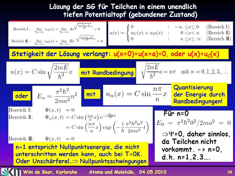 Wim de Boer, Karlsruhe Atome und Moleküle, 04.05.2010 38 Lösung der SG für Teilchen in einem unendlich tiefen Potentialtopf (gebundener Zustand) Steti