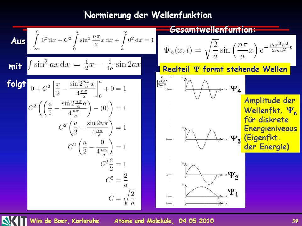 Wim de Boer, Karlsruhe Atome und Moleküle, 04.05.2010 39 Normierung der Wellenfunktion Aus mit folgt Gesamtwellenfuntion: 1 2 3 4 Amplitude der Wellen