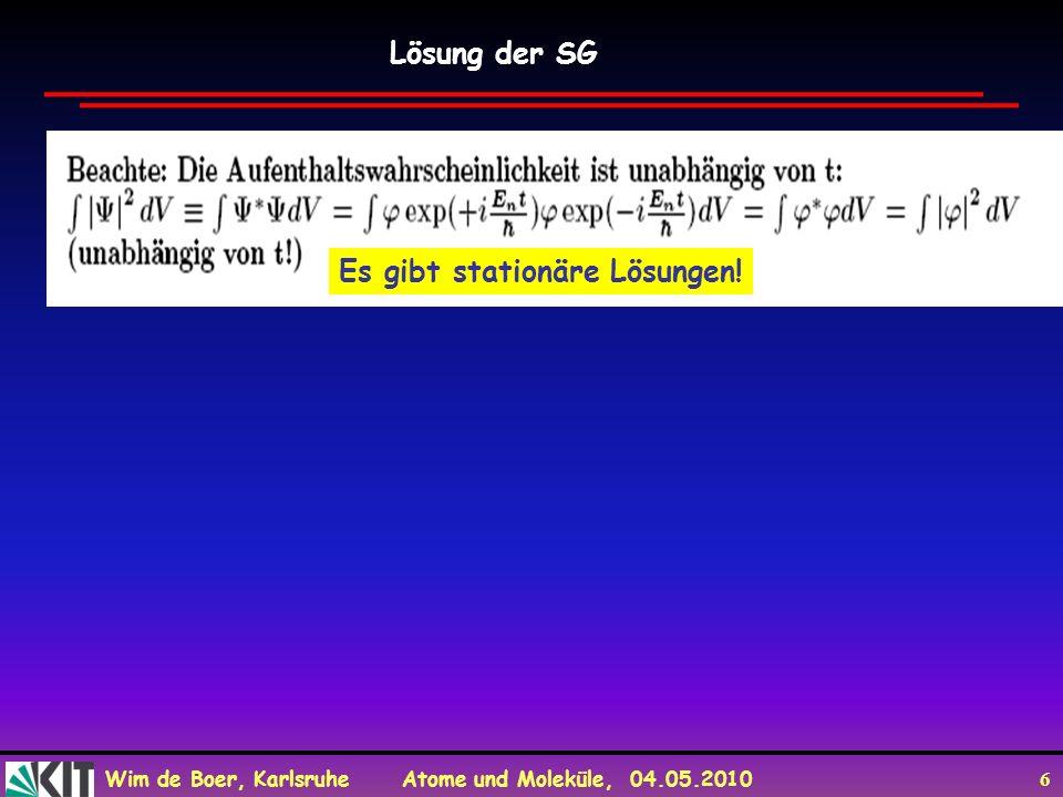 Wim de Boer, Karlsruhe Atome und Moleküle, 04.05.2010 27 Wellenpakete sind Lösung der SG und sind quadratisch integrierbar Wellenpaket ist Superposition vieler Wellen: Wellenpakete sind Lösung der SG