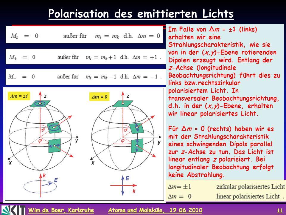 Wim de Boer, Karlsruhe Atome und Moleküle, 19.06.2010 11 Im Falle von Δm = ±1 (links) erhalten wir eine Strahlungscharakteristik, wie sie von in der (
