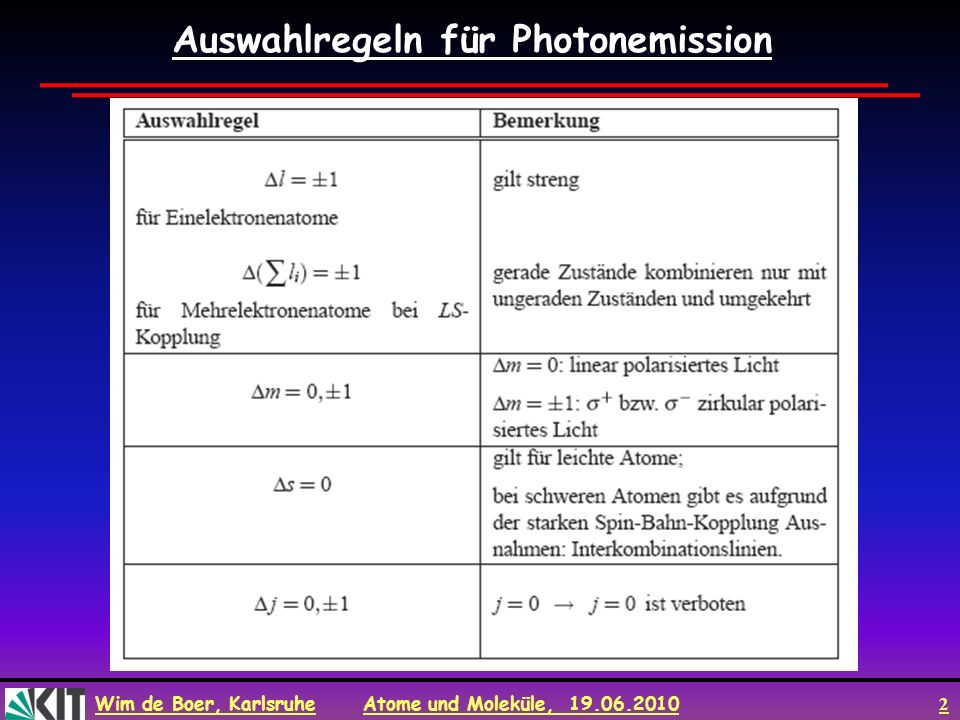 Wim de Boer, Karlsruhe Atome und Moleküle, 19.06.2010 3 Photon Emission und Absorption E.M Welle exp( i(k.r-ωt) zum Zeitpunkt t=0: exp( ik.r)> 1+k.r+… mit k=10 5 /cm für sichtbares Licht und r=10 -8 cm, so kr 10 -3.