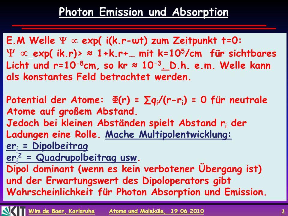 Wim de Boer, Karlsruhe Atome und Moleküle, 19.06.2010 3 Photon Emission und Absorption E.M Welle exp( i(k.r-ωt) zum Zeitpunkt t=0: exp( ik.r)> 1+k.r+…