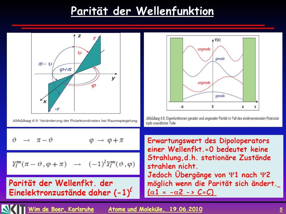 Wim de Boer, Karlsruhe Atome und Moleküle, 19.06.2010 5 Parität der Wellenfunktion Parität der Wellenfkt. der Einelektronzustände daher (-1) l Erwartu