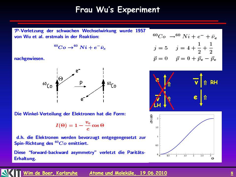 Wim de Boer, Karlsruhe Atome und Moleküle, 19.06.2010 19 Zum Mitnehmen Auswahlregeln für Absorption und Emission von Photonen bestimmt durch Ladungsverteilung im Atom.