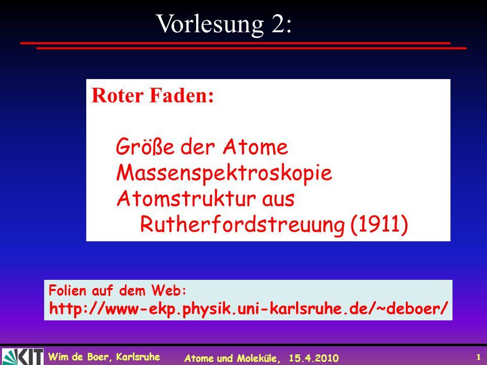 Wim de Boer, Karlsruhe Atome und Moleküle, 15.4.2010 1 Vorlesung 2: Roter Faden: Größe der Atome Massenspektroskopie Atomstruktur aus Rutherfordstreuu