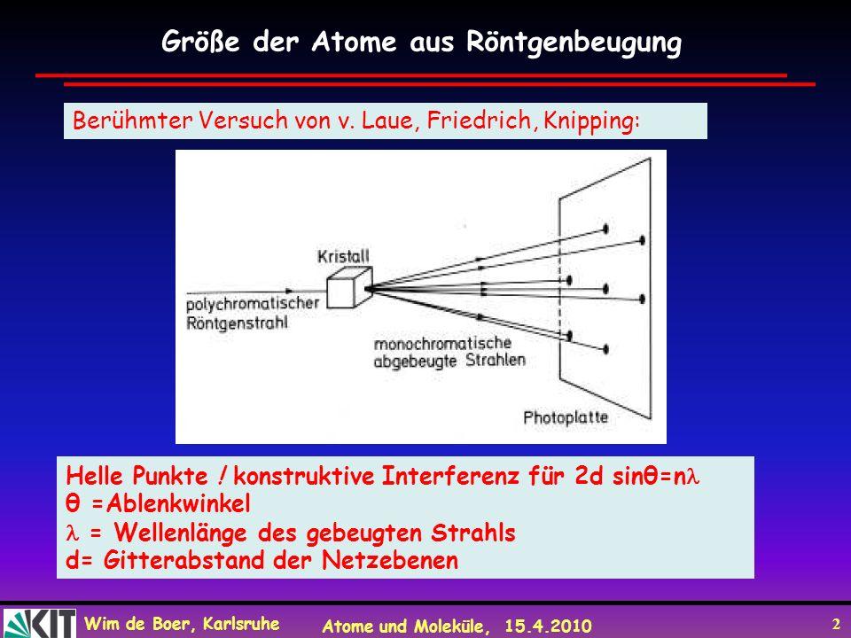 Wim de Boer, Karlsruhe Atome und Moleküle, 15.4.2010 2 Größe der Atome aus Röntgenbeugung Berühmter Versuch von v. Laue, Friedrich, Knipping: Helle Pu