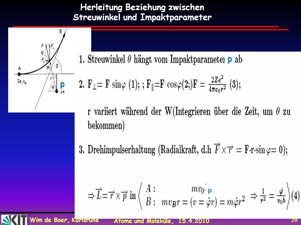 Wim de Boer, Karlsruhe Atome und Moleküle, 15.4.2010 20 p Herleitung Beziehung zwischen Streuwinkel und Impaktparameter p p