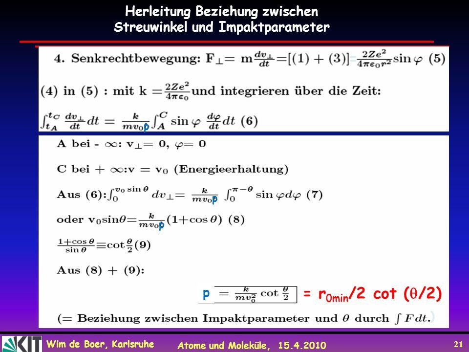Wim de Boer, Karlsruhe Atome und Moleküle, 15.4.2010 21 Herleitung Beziehung zwischen Streuwinkel und Impaktparameter = ) p p p p = r 0min /2 cot ( /2