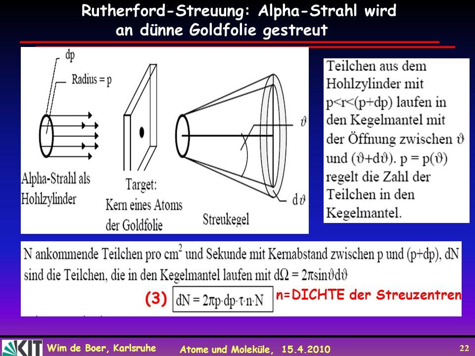 Wim de Boer, Karlsruhe Atome und Moleküle, 15.4.2010 22 n=DICHTE der Streuzentren Rutherford-Streuung: Alpha-Strahl wird an dünne Goldfolie gestreut (