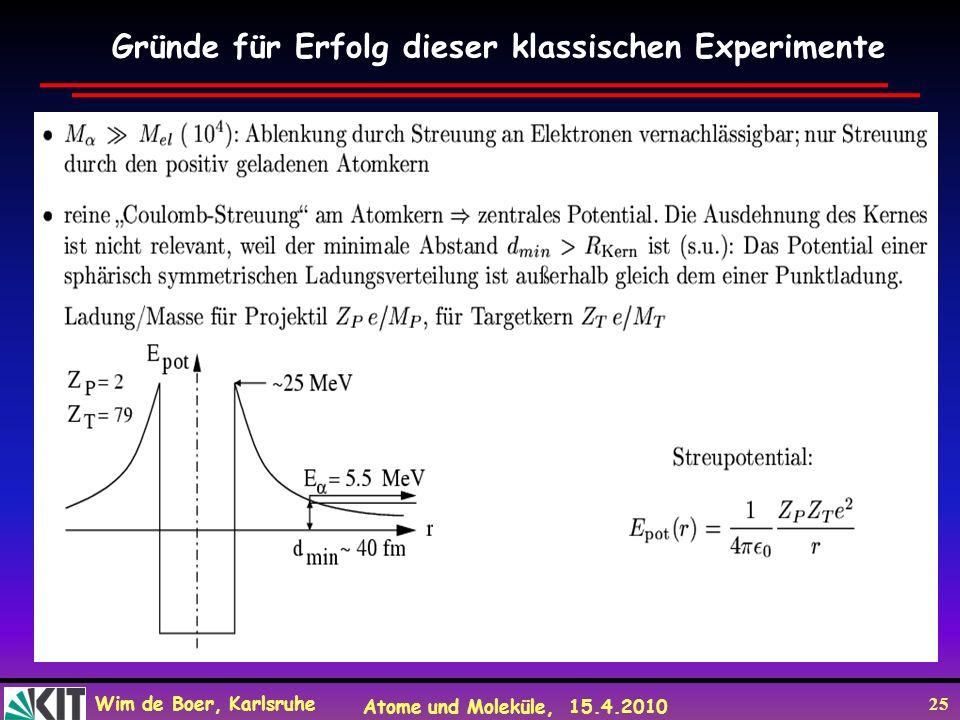 Wim de Boer, Karlsruhe Atome und Moleküle, 15.4.2010 25 Gründe für Erfolg dieser klassischen Experimente