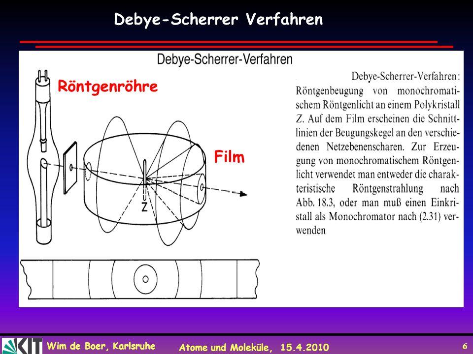 Wim de Boer, Karlsruhe Atome und Moleküle, 15.4.2010 6 Debye-Scherrer Verfahren Röntgenröhre Film