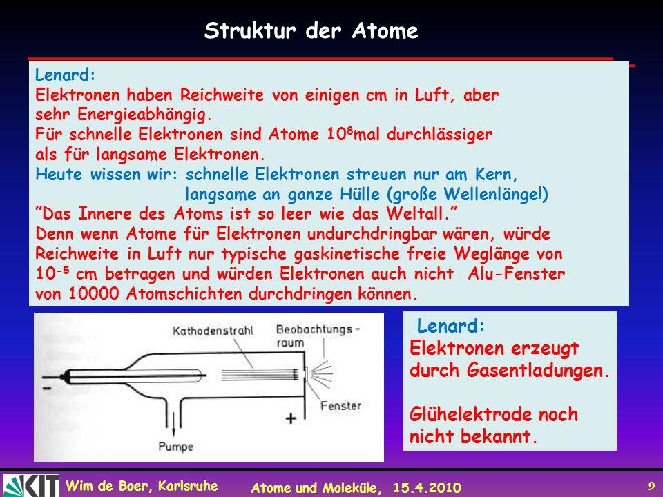 Wim de Boer, Karlsruhe Atome und Moleküle, 15.4.2010 9 Lenard: Elektronen haben Reichweite von einigen cm in Luft, aber sehr Energieabhängig. Für schn