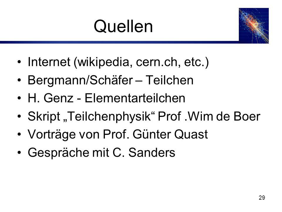 29 Quellen Internet (wikipedia, cern.ch, etc.) Bergmann/Schäfer – Teilchen H.