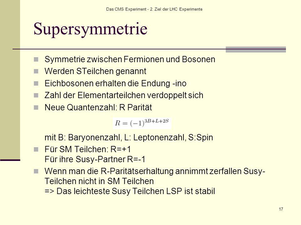 Das CMS Experiment - 2. Ziel der LHC Experimente 17 Supersymmetrie Symmetrie zwischen Fermionen und Bosonen Werden STeilchen genannt Eichbosonen erhal