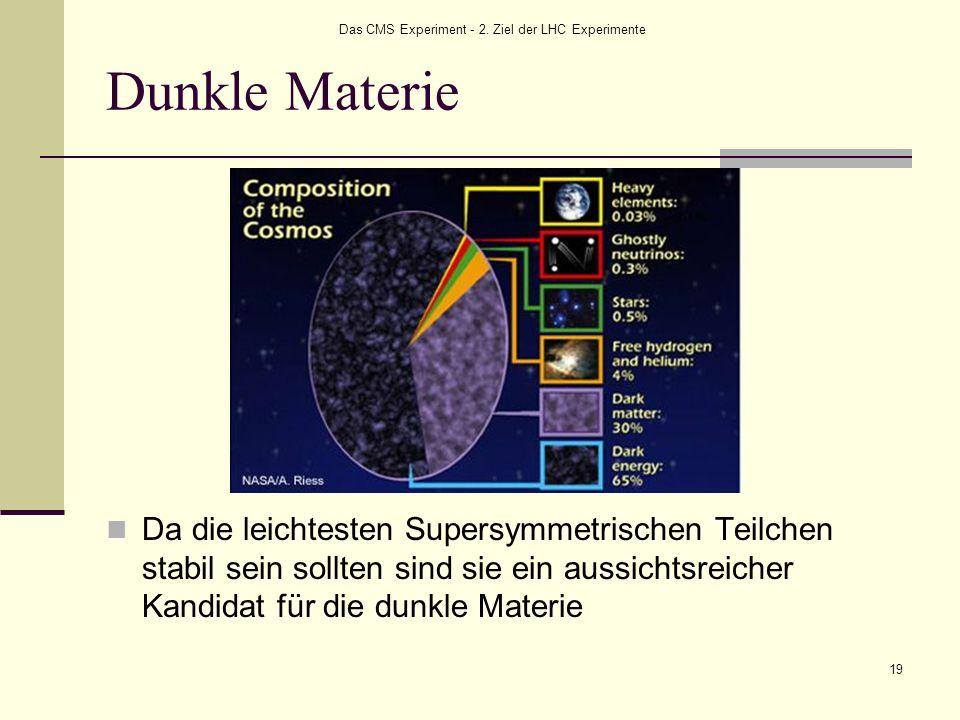 Das CMS Experiment - 2. Ziel der LHC Experimente 19 Dunkle Materie Da die leichtesten Supersymmetrischen Teilchen stabil sein sollten sind sie ein aus