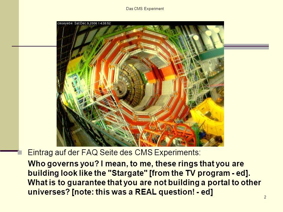 Das CMS Experiment - Inhalt 3 Inhalt 1.Einführung: Der Large Hadron Collider (LHC) Experimente 2.