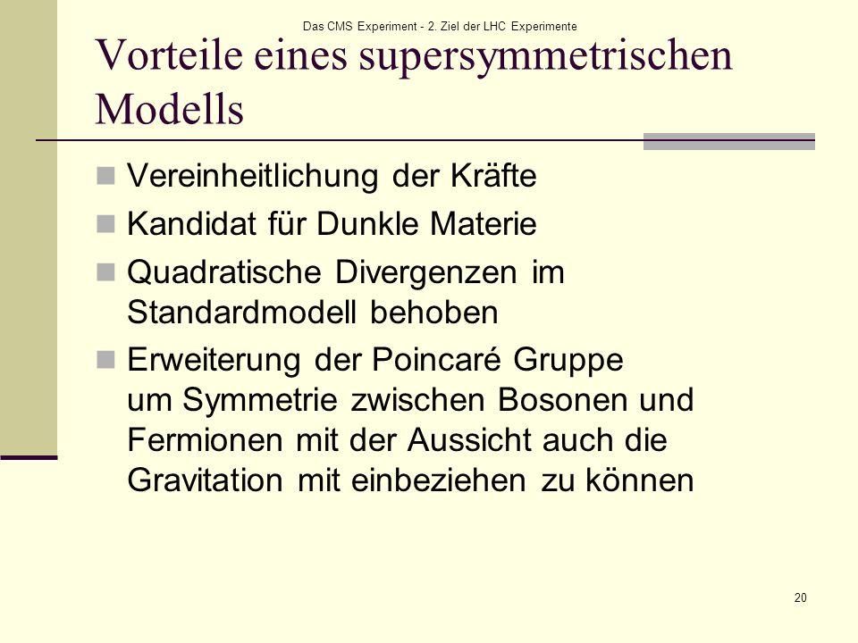 Das CMS Experiment - 2. Ziel der LHC Experimente 20 Vorteile eines supersymmetrischen Modells Vereinheitlichung der Kräfte Kandidat für Dunkle Materie