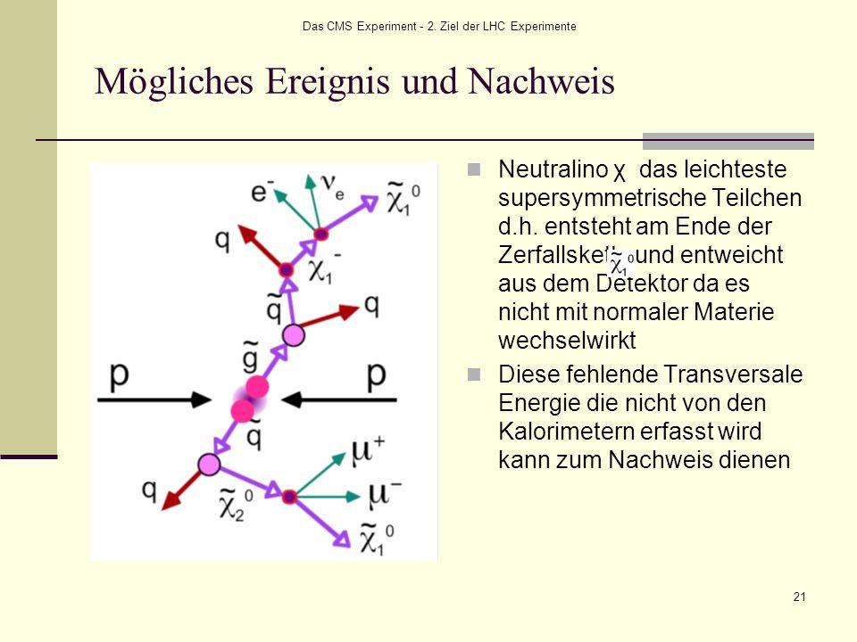 Das CMS Experiment - 2. Ziel der LHC Experimente 21 Mögliches Ereignis und Nachweis Neutralino χ das leichteste supersymmetrische Teilchen d.h. entste