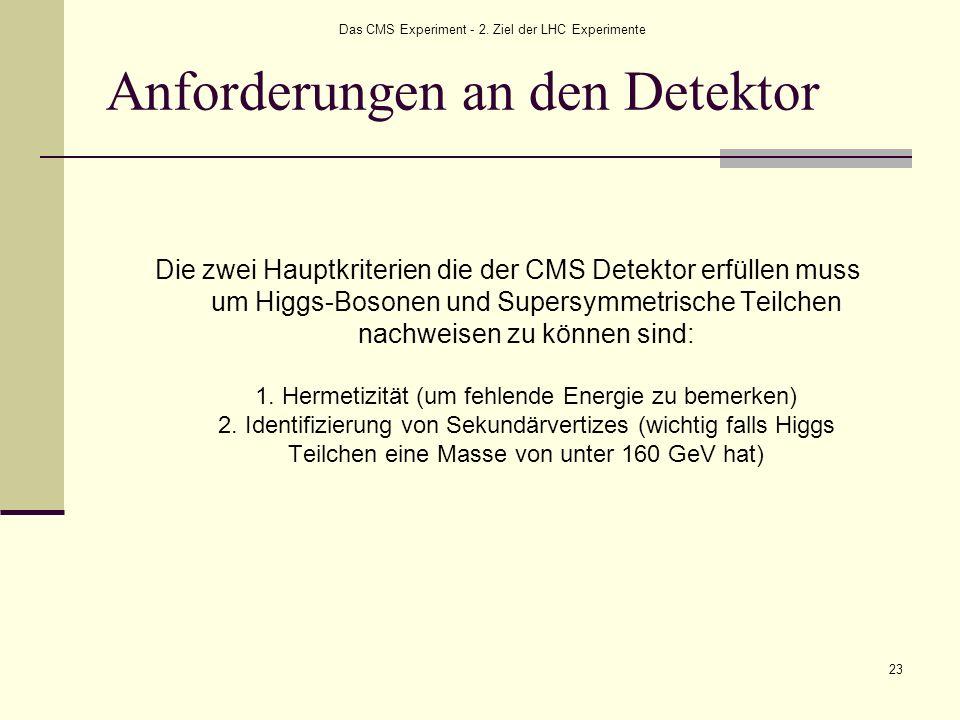 Das CMS Experiment - 2. Ziel der LHC Experimente 23 Anforderungen an den Detektor Die zwei Hauptkriterien die der CMS Detektor erfüllen muss um Higgs-