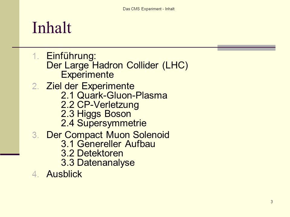 Das CMS Experiment - Inhalt 3 Inhalt 1. Einführung: Der Large Hadron Collider (LHC) Experimente 2. Ziel der Experimente 2.1 Quark-Gluon-Plasma 2.2 CP-