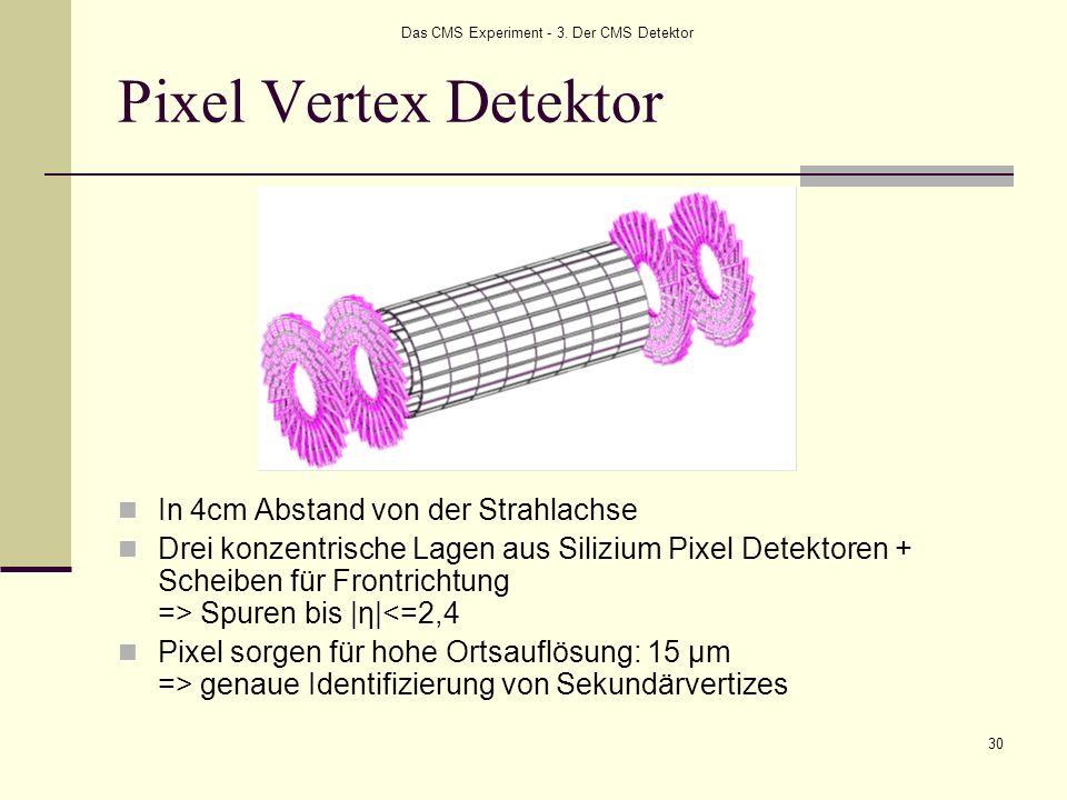 Das CMS Experiment - 3. Der CMS Detektor 30 Pixel Vertex Detektor In 4cm Abstand von der Strahlachse Drei konzentrische Lagen aus Silizium Pixel Detek