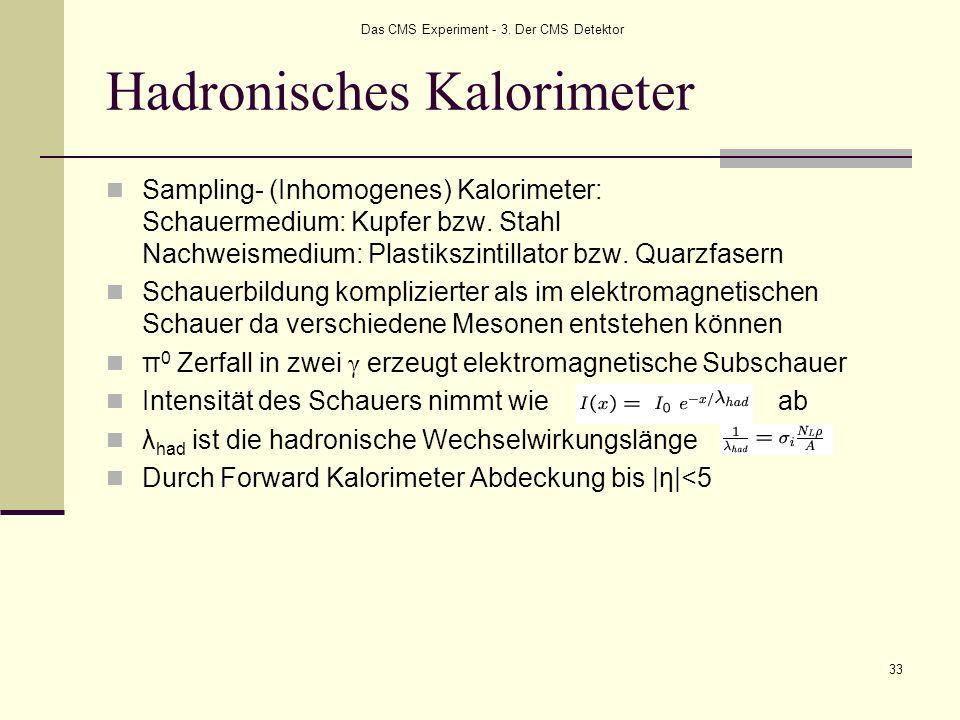 Das CMS Experiment - 3. Der CMS Detektor 33 Hadronisches Kalorimeter Sampling- (Inhomogenes) Kalorimeter: Schauermedium: Kupfer bzw. Stahl Nachweismed