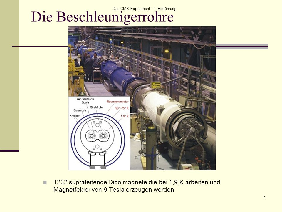 Das CMS Experiment - 1. Einführung 7 Die Beschleunigerrohre 1232 supraleitende Dipolmagnete die bei 1,9 K arbeiten und Magnetfelder von 9 Tesla erzeug