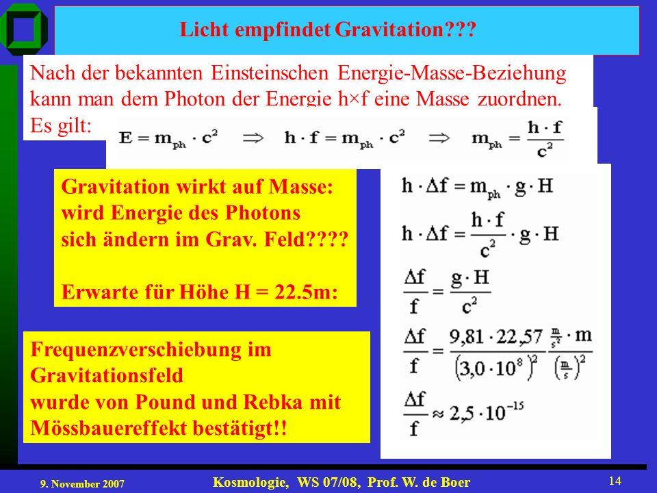 9. November 2007 Kosmologie, WS 07/08, Prof. W. de Boer 14 Licht empfindet Gravitation??? Nach der bekannten Einsteinschen Energie-Masse-Beziehung kan