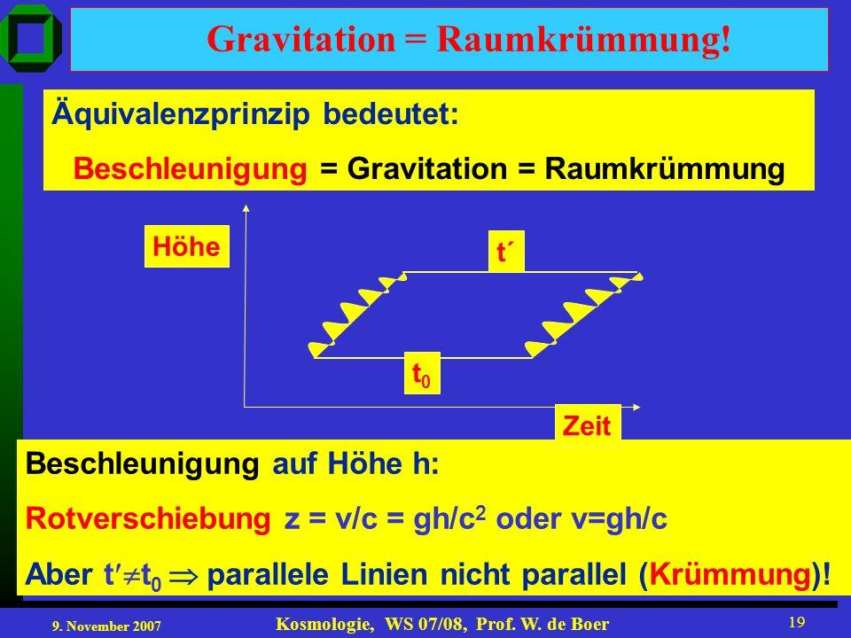 9. November 2007 Kosmologie, WS 07/08, Prof. W. de Boer 19 Äquivalenzprinzip bedeutet: Beschleunigung = Gravitation = Raumkrümmung Beschleunigung auf