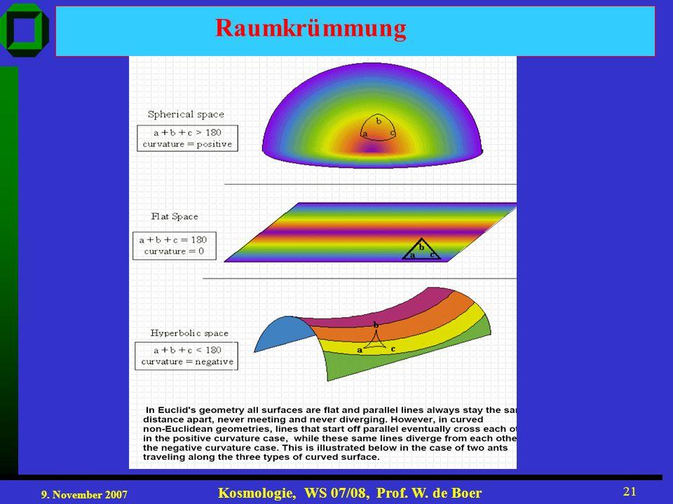 9. November 2007 Kosmologie, WS 07/08, Prof. W. de Boer 21 Raumkrümmung