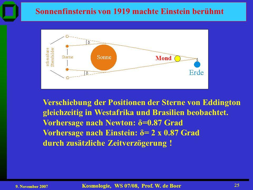 9. November 2007 Kosmologie, WS 07/08, Prof. W. de Boer 25 Sonnenfinsternis von 1919 machte Einstein berühmt Verschiebung der Positionen der Sterne vo