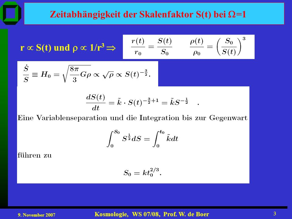9. November 2007 Kosmologie, WS 07/08, Prof. W. de Boer 3 Zeitabhängigkeit der Skalenfaktor S(t) bei =1 r S(t) und 1/r 3
