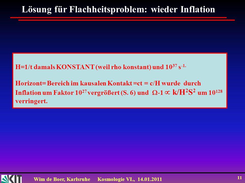 Wim de Boer, KarlsruheKosmologie VL, 14.01.2011 11 Lösung für Flachheitsproblem: wieder Inflation H=1/t damals KONSTANT (weil rho konstant) und 10 37
