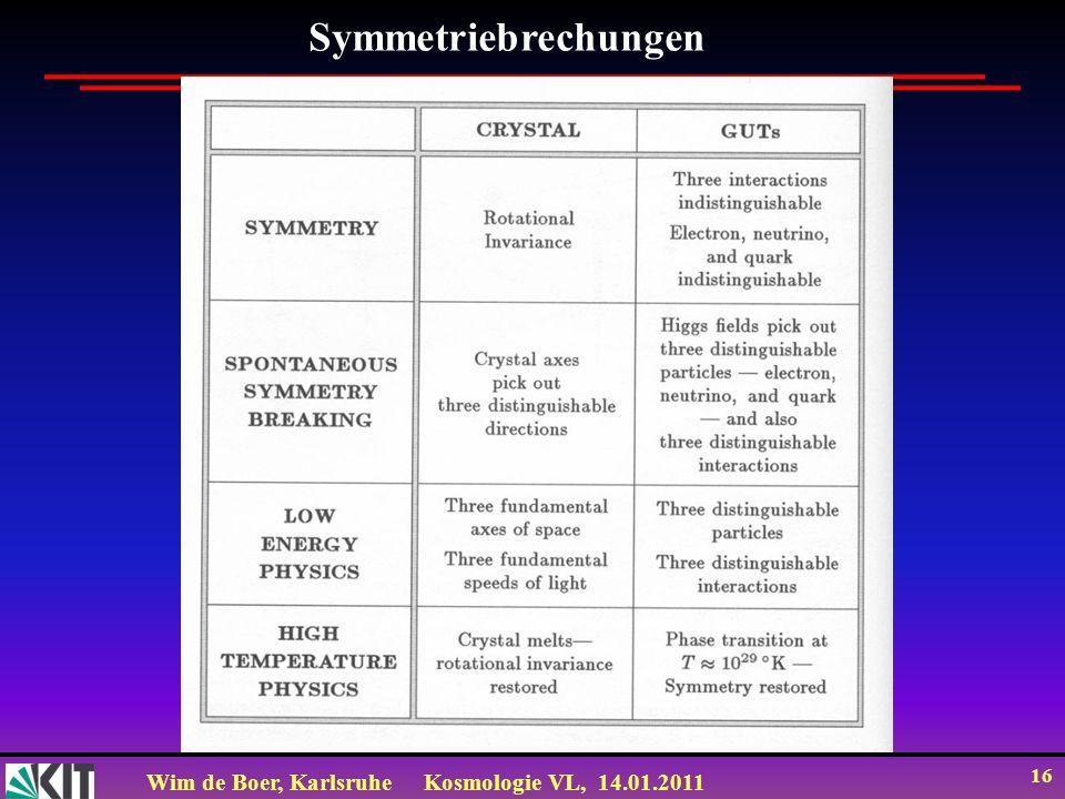 Wim de Boer, KarlsruheKosmologie VL, 14.01.2011 16 Symmetriebrechungen