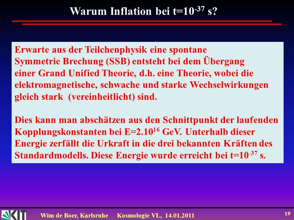 Wim de Boer, KarlsruheKosmologie VL, 14.01.2011 19 Warum Inflation bei t=10 -37 s? Erwarte aus der Teilchenphysik eine spontane Symmetrie Brechung (SS