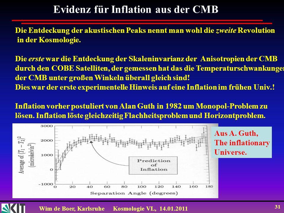 Wim de Boer, KarlsruheKosmologie VL, 14.01.2011 31 Die Entdeckung der akustischen Peaks nennt man wohl die zweite Revolution in der Kosmologie. Die er