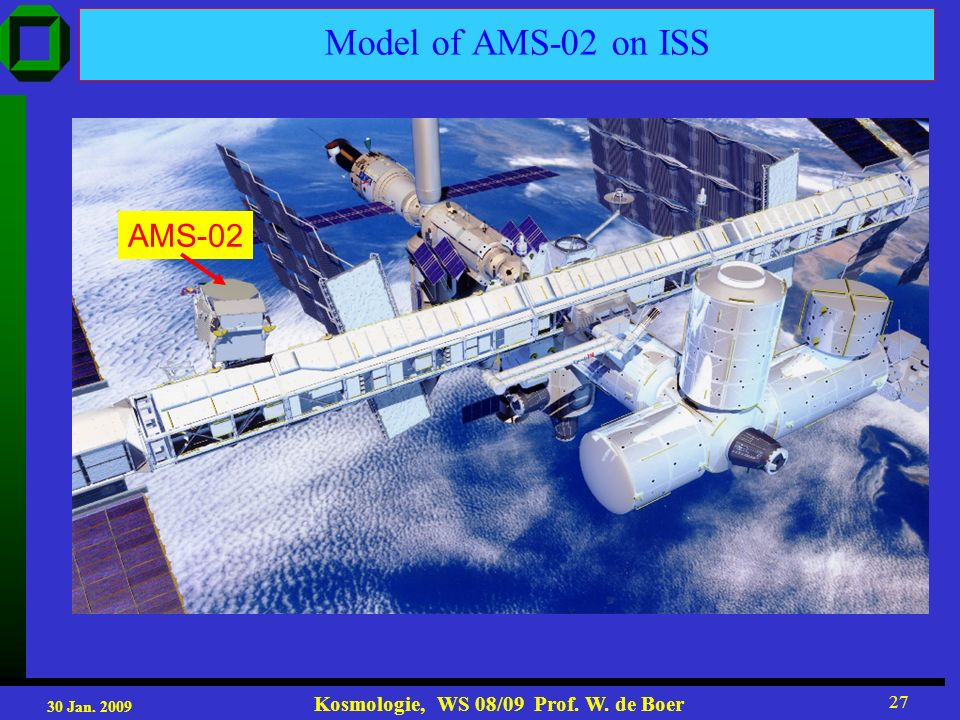 30 Jan. 2009 Kosmologie, WS 08/09 Prof. W. de Boer 27 Model of AMS-02 on ISS AMS-02