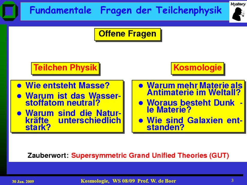 30 Jan. 2009 Kosmologie, WS 08/09 Prof. W. de Boer 3 Fundamentale Fragen der Teilchenphysik