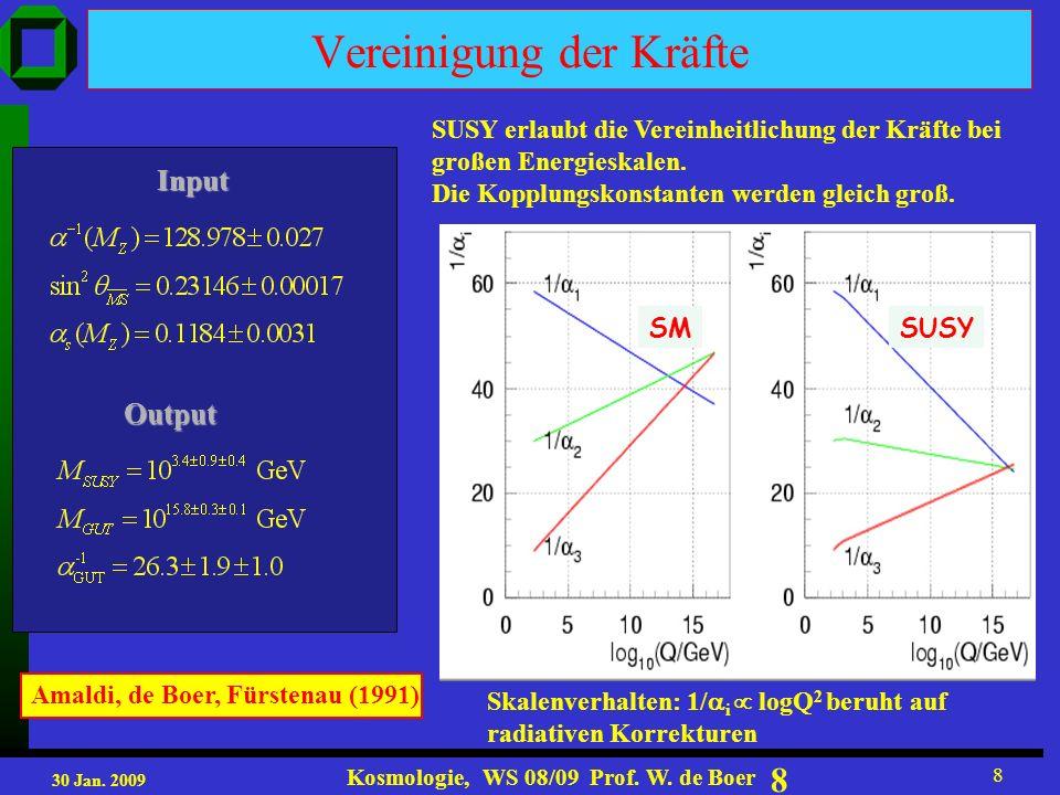 30 Jan. 2009 Kosmologie, WS 08/09 Prof. W. de Boer 29 AMS-02 Particle Identification