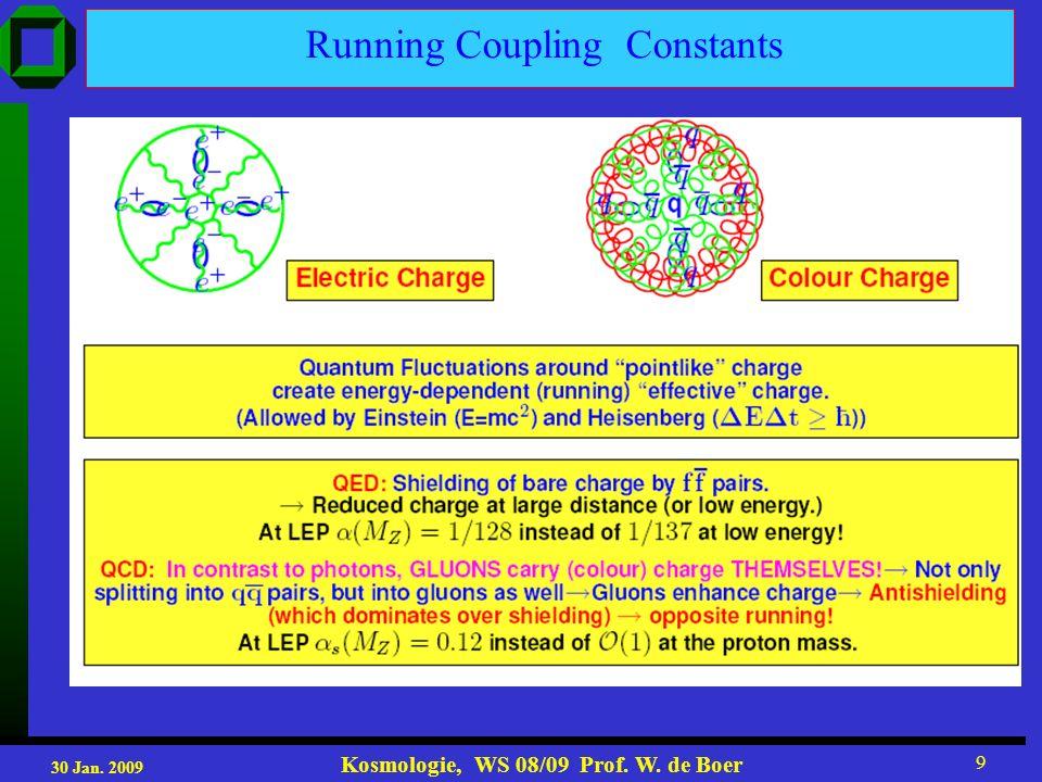 30 Jan. 2009 Kosmologie, WS 08/09 Prof. W. de Boer 9 Running Coupling Constants