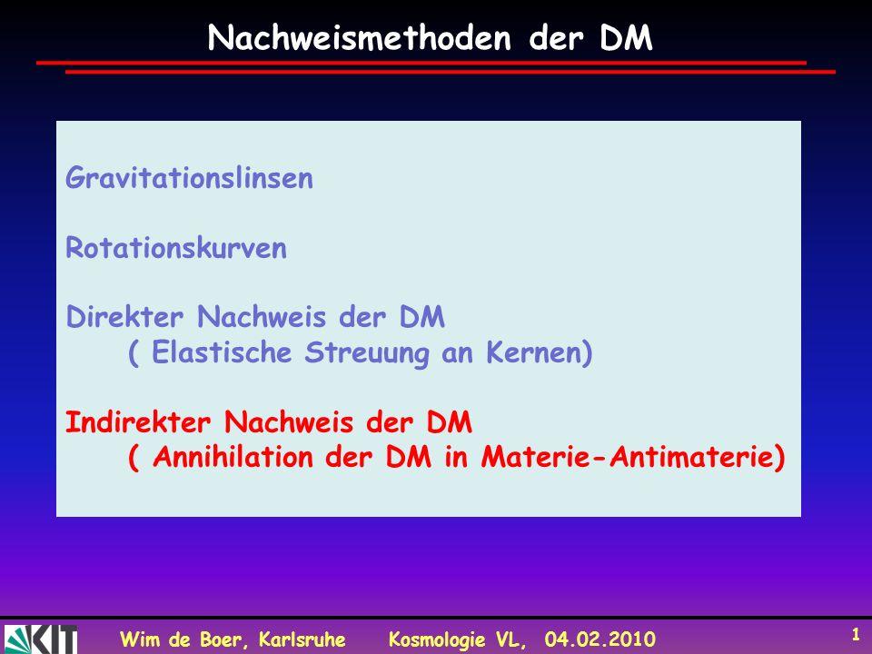 Wim de Boer, KarlsruheKosmologie VL, 04.02.2010 1 Gravitationslinsen Rotationskurven Direkter Nachweis der DM ( Elastische Streuung an Kernen) Indirekter Nachweis der DM ( Annihilation der DM in Materie-Antimaterie) Nachweismethoden der DM