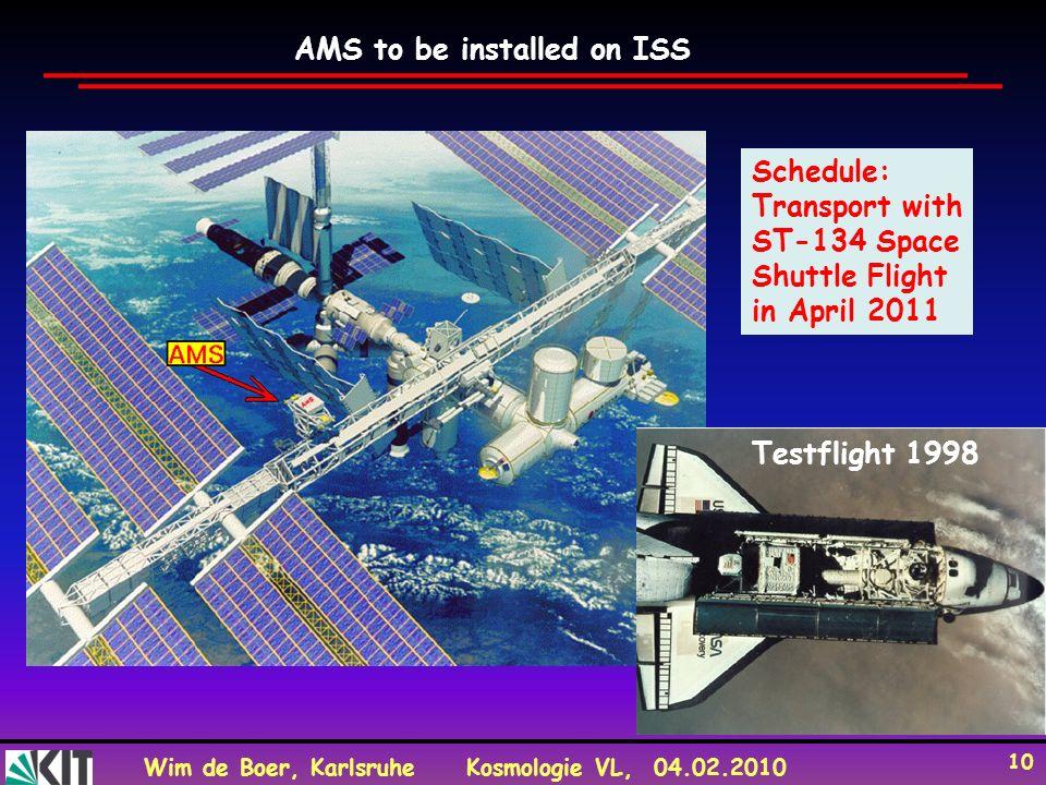 Wim de Boer, KarlsruheKosmologie VL, 04.02.2010 10 Testflight 1998 AMS to be installed on ISS Schedule: Transport with ST-134 Space Shuttle Flight in April 2011
